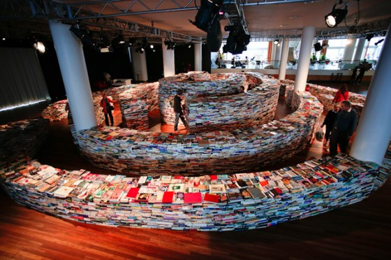 a giant labyrinth of 250,000 books by artists Marcos Saboya and Gualter Pupo at Southbank Center London 2012